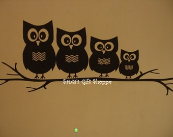OWL FAMILY Sitting on a Branch Vinyl Wall Decal - Home Decor -Childrens Room - Best Deal
