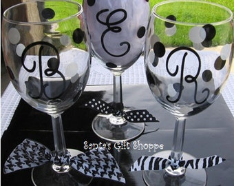 "5 Monogrammed Initials plus Polka Dots - Wedding - Vinyl Decal Stickers for that ""Special Party"" -  Celebration Glasses - 1 Color & Font"