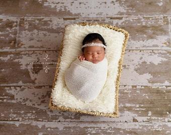 White Pearls Mohair Halo Tieback Headband Newborn Photography