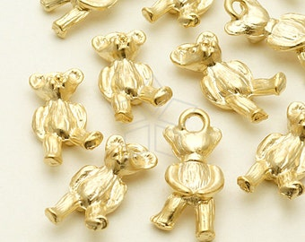 PD-1040-MG / 2 Pcs - Teddy Bear Charm Pendant, Matte Gold Plated over Pewter / 9mm x 19mm