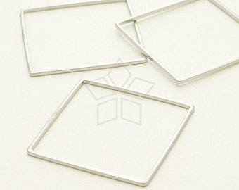 ME-208-MS / 4 Pcs - Square Ring, Square Connector, Square Link, Matte Silver Plated over Brass / 30mm x 30mm