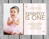 Pink and Gold Birthday Invitation, Gold Glitter, First Birthday Invitation - Digital File