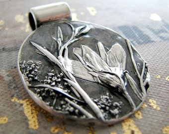 Wildflowers, Fine Silver Pendant, Natural Plant Reproduction, Artisan Handmade by SilverWishes, Recycled Silver