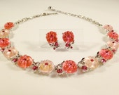 LISNER LUCITE SET - Pink Rhinestone Floral Lisner Necklace, Earrings - Pink Jelly Lucite Flowers, Pink Rhinestones - Pink Rhinestone Choker