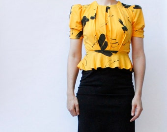 Vintage 80's stretch knit peplum dress, Yellow & Black, abstract paint splash pattern, poofy shoulders - Small