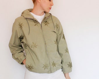 Vintage 50's White Stag jacket, pale green, embroidered leaves / palms, hooded, internal pockets, one external zip pocket - Medium