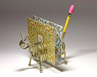 Vintage Animal Brass Note and Pen Holder  - circa 1950's