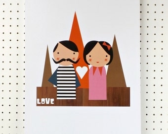 Love Poster Mr and Mrs Couple Retro A3 Print Poster