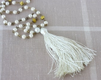 Pearl necklace beaded tassel necklace long necklace boho wedding jewelry gift ideas for her white tassel necklace faux pearl jewellery