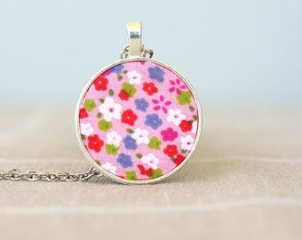 Pendant necklace for women pink flower necklace floral fabric necklace bohemian wedding jewelry unique gift ideas for her hippie jewelry