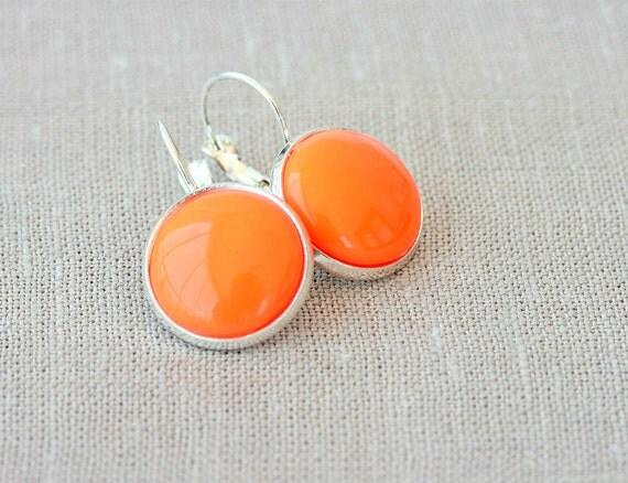 Orange earrings retro dangle earrings for women resin cabochon earrings modern jewelry fashion earrings christmas gift idea for her under 10