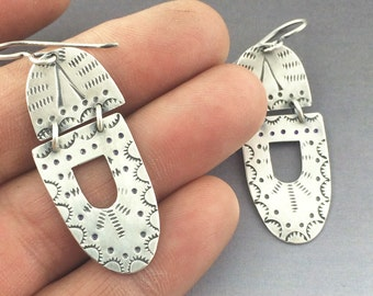 Navajo inspired stamped dangle earrings, sterling Silver hand stamped earrings,