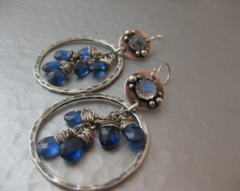 Moonstone and Blue Kyanite Sterling Silver Hoop Earrings