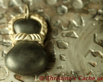 Cyber Monday Deal...Dew Drop Ceramic Pendant with Silver Cap - hand-formed - kiln fired on ball chain - CP-#1