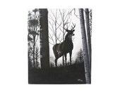 vintage original black and white deer painting