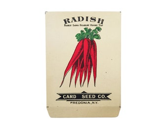 antique 1900s litho card seed co. extra long scarlet short top radish packet