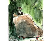 Zen Squirrel -- Calm Clearing -- Bamboo Forest -- Meditation in Nature -- Watercolor Digital Print