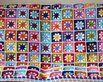 Daisy Blanket Granny Squares Crochet Afghan Sofa Throw