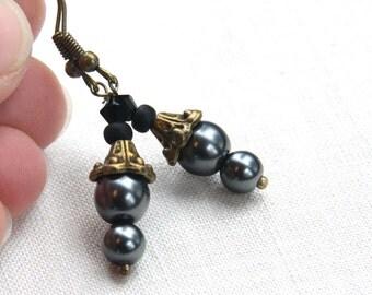 Summer Outdoors Black Pearl Earrings gift for her Bell Drop Earrings Steampunk Earrings Black Goth Earrings Antique Bronze Vintage Style