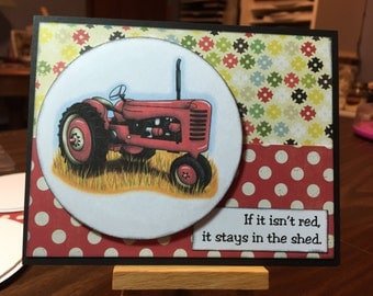 Silly Red Tractor card - Any Occasion