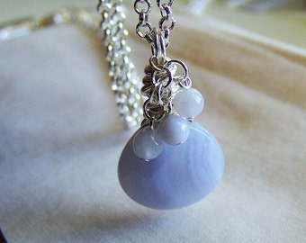 Blue Lace Agate Gemstone Pendant Necklace