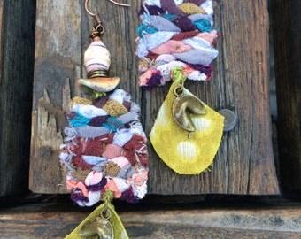 Fabric EARRINGS artsy earrings, chinese cookie earrings, boho earrings,colorful earrings, charm earrings,rainbow earrings ZASRA
