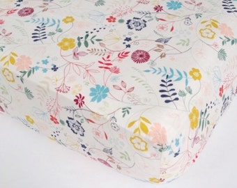 Girls Nursery Bedding - SALE Crib Sheet /Mini Crib Bedding / Changing Pad Cover / Floral Nursery Bedding /Fitted Crib Sheet /Etsy Baby Sheet