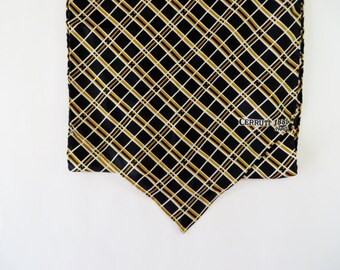 Vintage Scarf / Silk Scarf / Cerruti 1881 Paris Scarf / Designer Scarf / Navy Blue & Yellow Plaid Mod Long Scarf