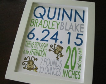 Birth Print Baby Boy Girl Nursery Wall Art Monkey 8 x 10 QUINN