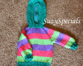 Knitted Hooded Baby Striped Sweater