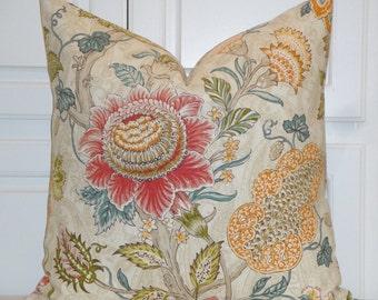 Decorative Pillow Cover - Floral - Jacobean - Accent Pillow - Euro Sham - Linen Pillow - Red - Aqua - Orange