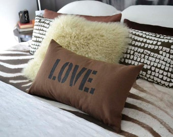 Love Pillow Cover in Brown