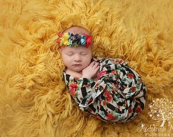 Jewel Toned Floral Tieback Headband