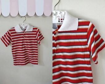 vintage boy's t shirt - BIG BROTHER striped polo shirt / 5t-6yr