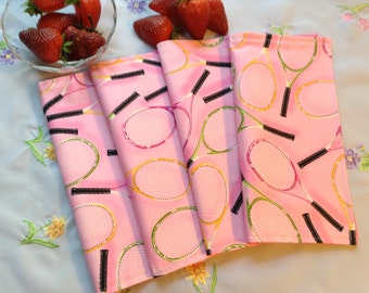 Fabric Napkins, Tennis Rackets on Pink - Set of 4, Reversible Napkins, Reusable Cloth Napkins, Green Living, Eco Friendly