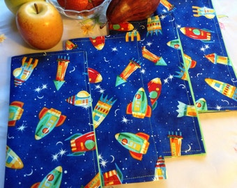 Fabric Napkins - Spaceships on Blue - Set of 4, Cloth Reversible Napkins, Reusable Napkins, Space, Rocket Ship Napkins