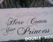 Tiara & Crystals, Wedding Sign, Reversible, Here Comes Your Princess, And They Lived Happily Ever After, Silver or Gold