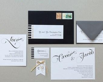 Modern Vintage Wedding Invitations,Elegant Calligraphy Wedding Invites,Modern Calligraphy Wedding Invitation, Modern Elegant Wedding Invite