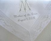 Wedding Handkerchief: White Irish Linen Daisy Design Lace Edge Handkerchief with Classic Zundt 1-Initial Monogram/Title/Date