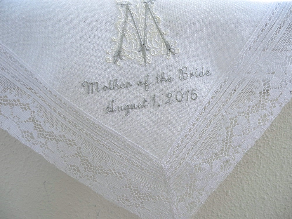 wedding handkerchief  white irish linen daisy design lace edge
