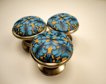 Cabinet Knobs  Blue Tan 3 decorative dresser draw knobs handmade Polymer Clay over Metal choice of finish