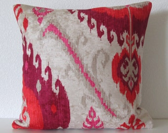 Samarkand Ruby colorful red pink fuchsia velvet ikat decorative pillow cover - design is off centered