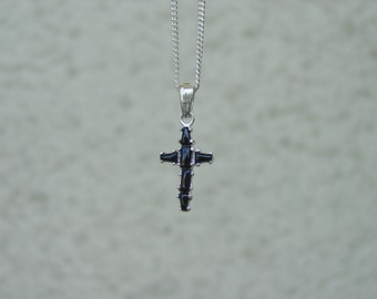 "Onyx Cross Pendant with 18"" Chain Silver Cross Jewelry"
