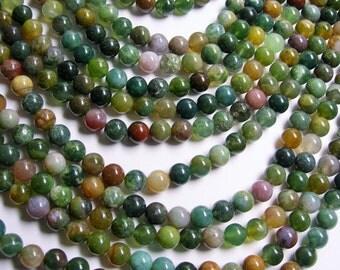 Indian agate 8mm - full strand - 48 beads per strand - RFG364