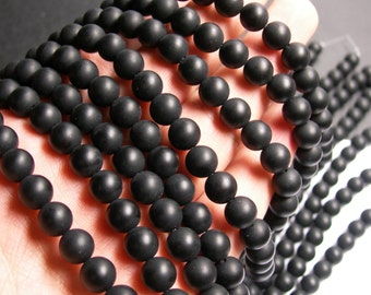 Black Onyx - matte -  8 mm round beads -1 full strand - 48 beads - AA quality - RFG394