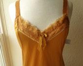 Slip Dress 36/38 M/L Topaz Gold Yellow Glam Garb Handmade USA Romantic Nightie Victorian Steampunk Vintage Hand Dyed Rockabilly Burlesque