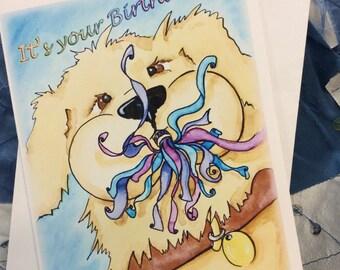 Birthday Card Dog Party illustration