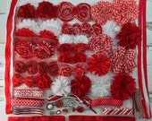 DIY-Headband Kit 24Headbands- Make Your Own Headbands- RED/WHITE