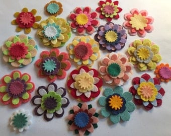 Wool Felt Mix and Match Flowers 80 total - Random Colored *Stock image please read details 3442