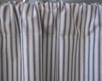 Curtain, Cabinet Curtain, Sink Curtain, Blue Woven Cotton Ticking Stripe Cabinet Curtain Panel 50 x 34